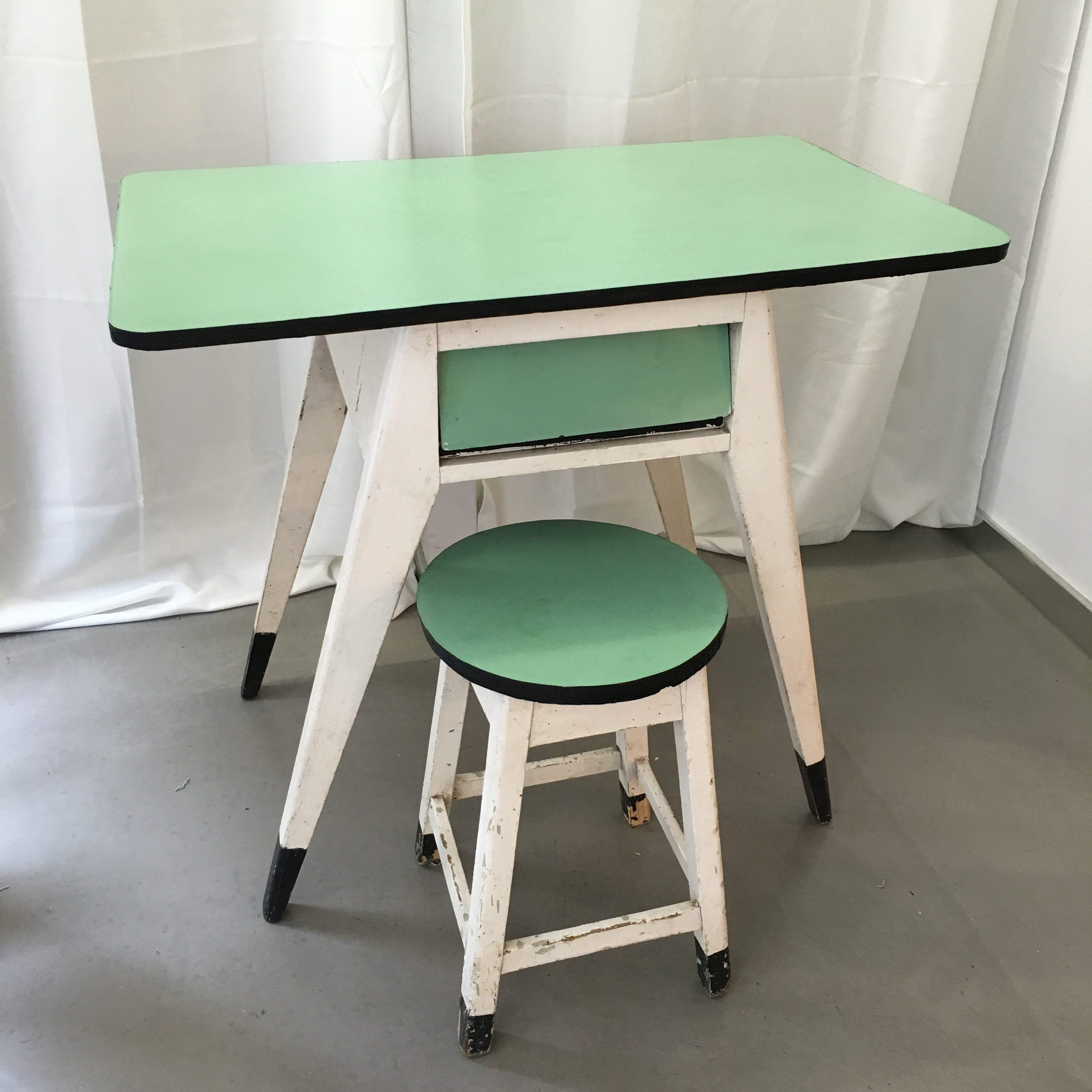 Mesa escritorio años 60 en madera y melamina en dos colores